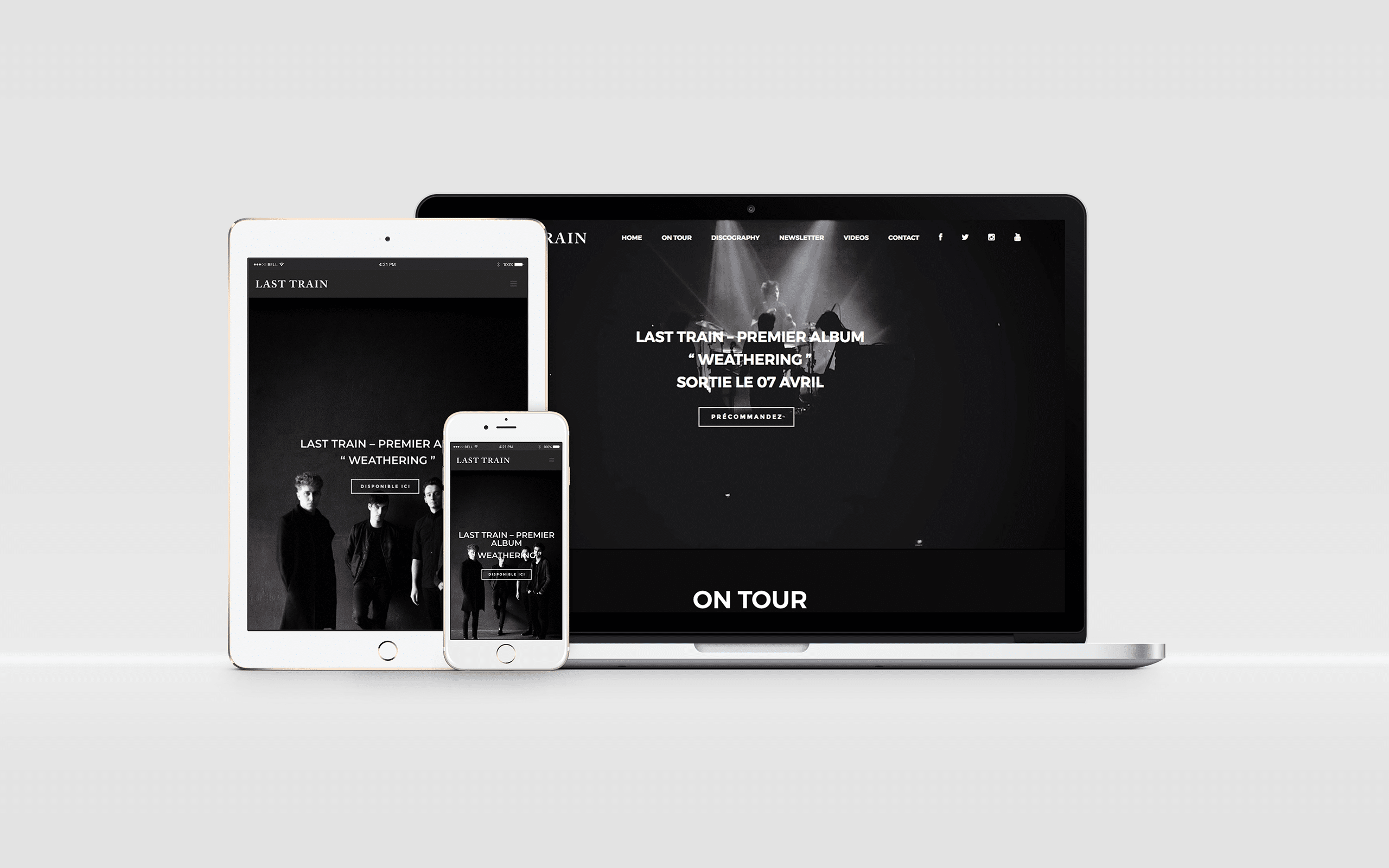 Mise en situation du site de Last Train avec iPad, iPhone et Macbook