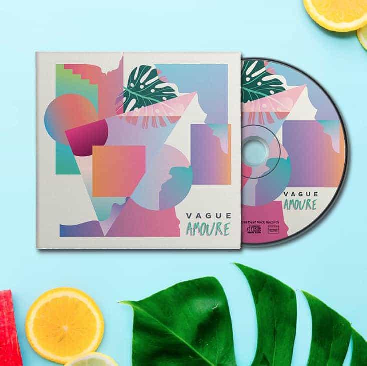Pochette du CD d'Amoure formes abstraites acidulées