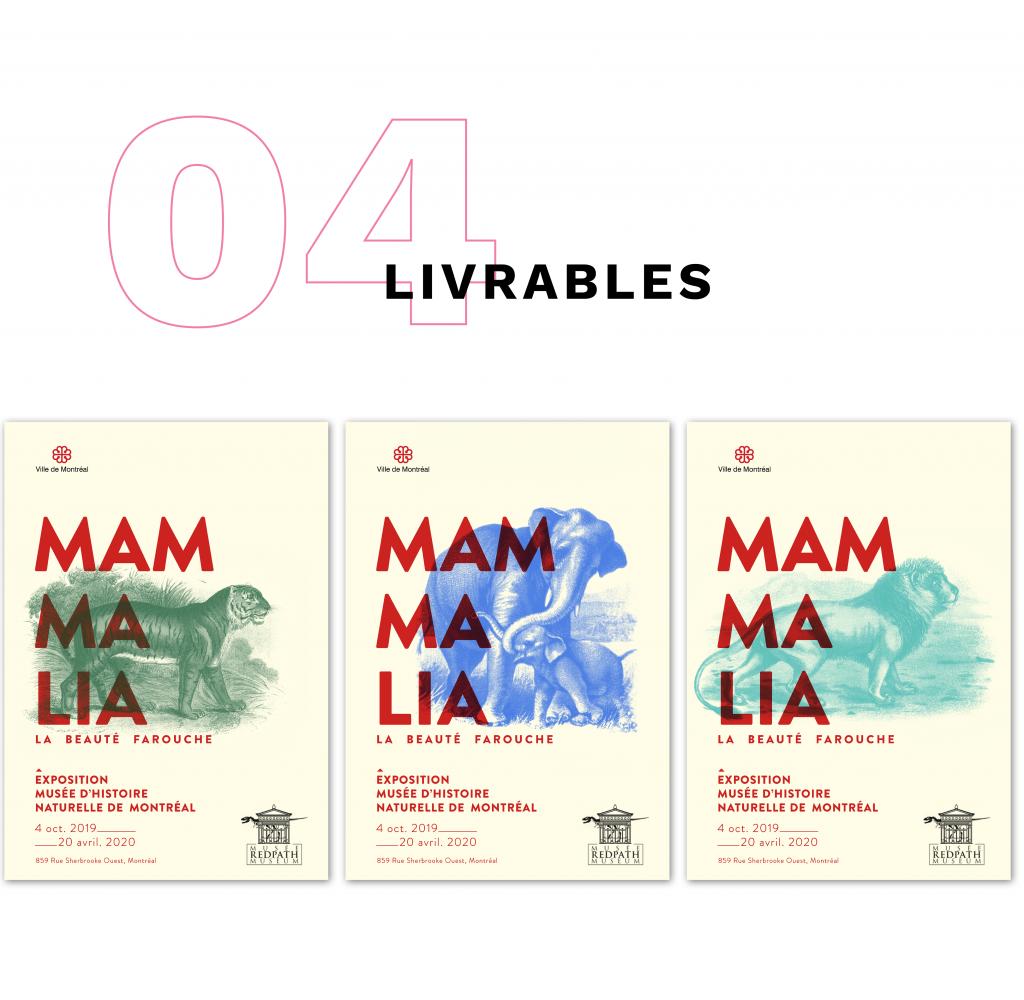 Affiches des livrables de l'exposition Mammalia