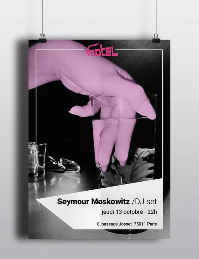 affiche du DJ set de Seymour Moskowitz au Motel, représentant une main dans un verre d'eau