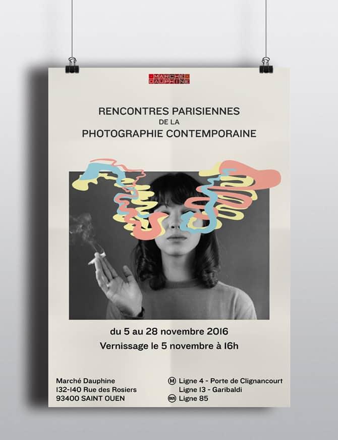 affiche de l'exposition rencontres parisiennes de la photographie contemporaine représentant Anna Karina fumant