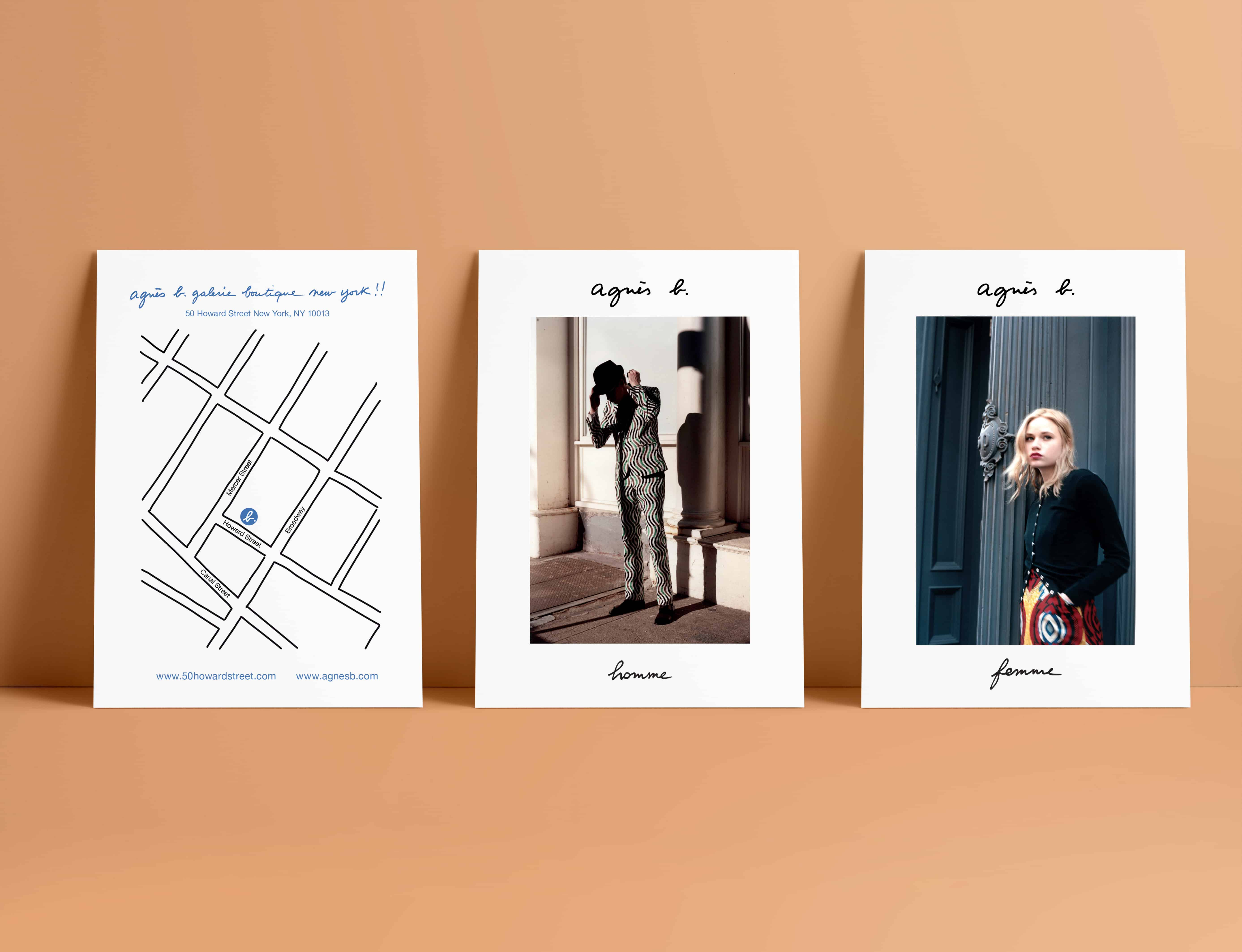 Mise en situation d'une carte postale agnès b de la boutique de New York