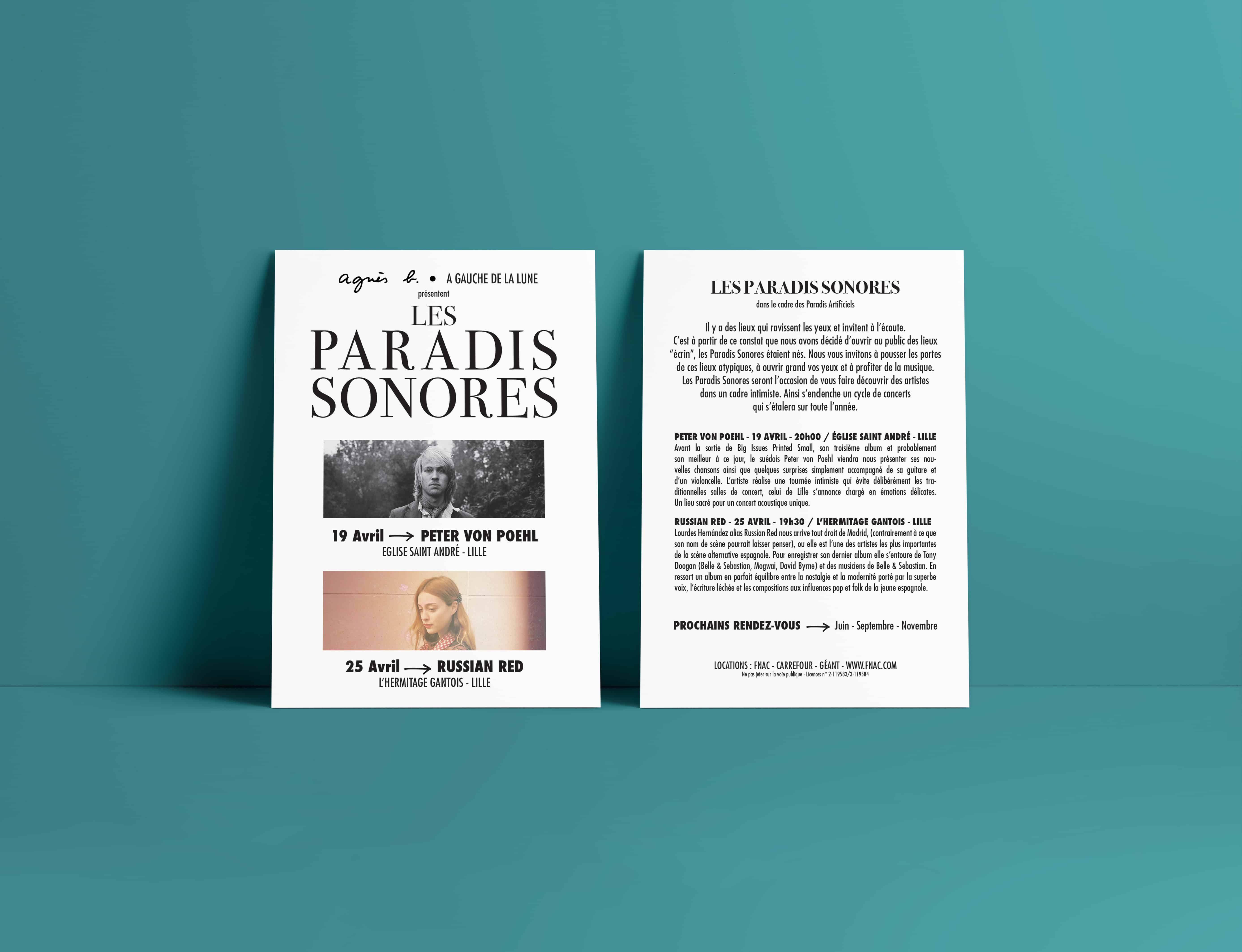 Flyer du festival les paradis sonores avec Peter von Poehl et Russian Red