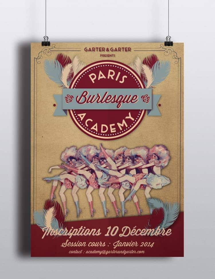 affiche de la burlesque academy avec danseuses de revue