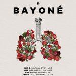 Affiche pour la tournée des groupes Sport et Bayoné représentant des poumons constitués de fleurs