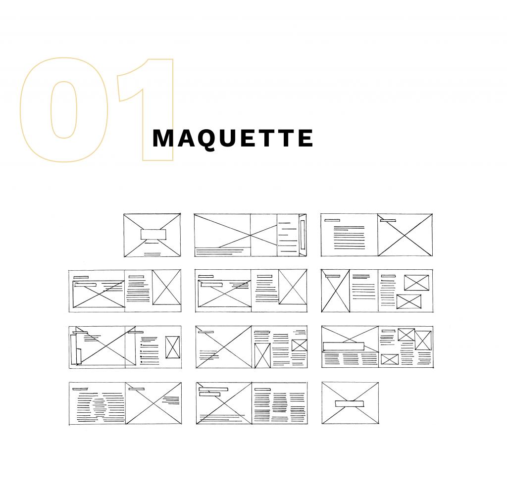 ébauches de la maquette de la brochure dessinées au stylos