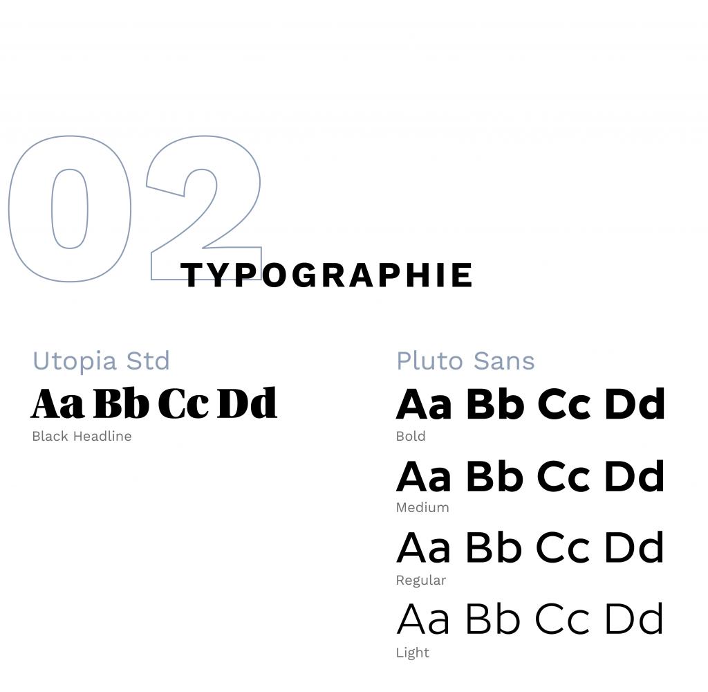 recherches typographiques : utopia std et pluto sans