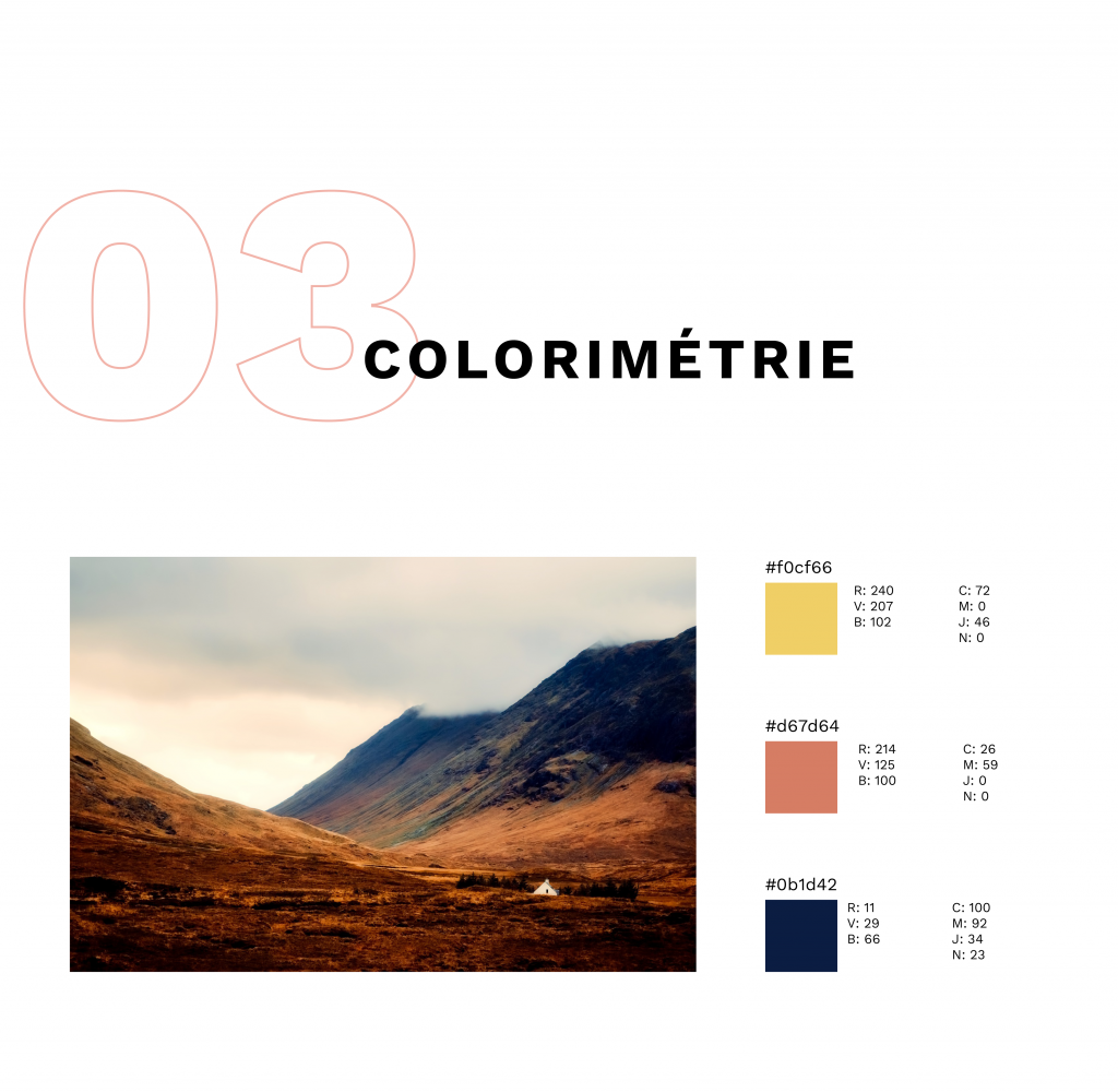 Colorimétrie de la brochure avec photo de montagne