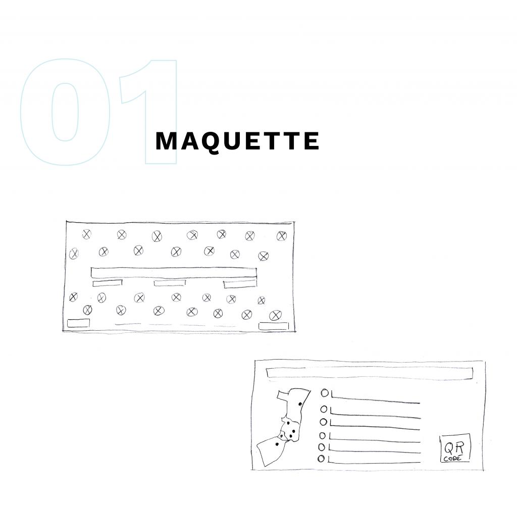 ébauches de la maquette du flyer dessinées au stylo