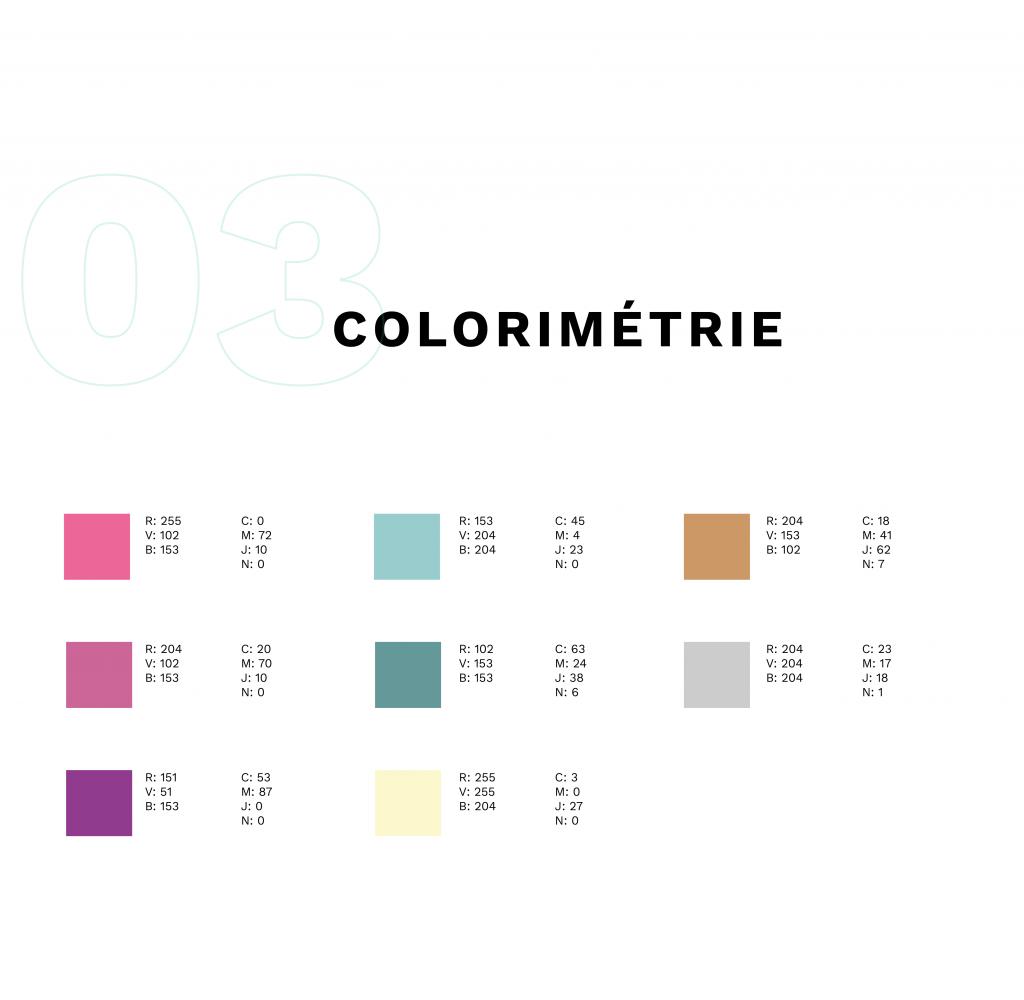 colorimétrie représentée avec des carrés colorés et les codes hexadécimaux de chaque couleur