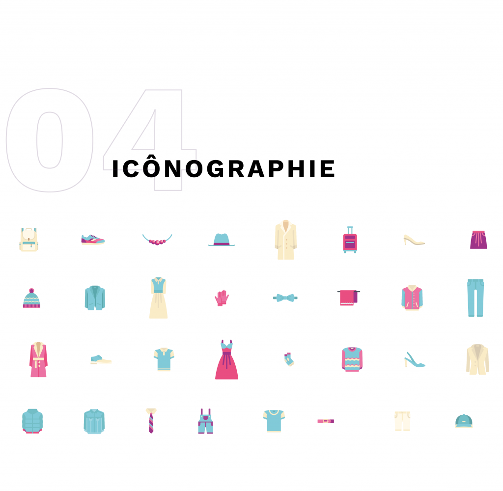 icônographie : plusieurs icônes représentants des articles de mode, chapeaux, vestes, sacs...